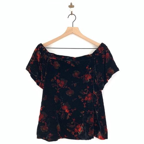 LOFT Tops - Loft Floral Velvet Off The Shoulder Blouse SP